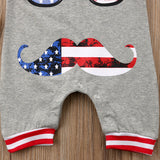 Baby boy sleeveless patriotic romper with funny glasses and beard