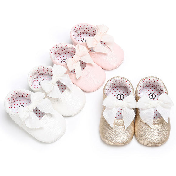 Baby Girls butterfly knot slip ons