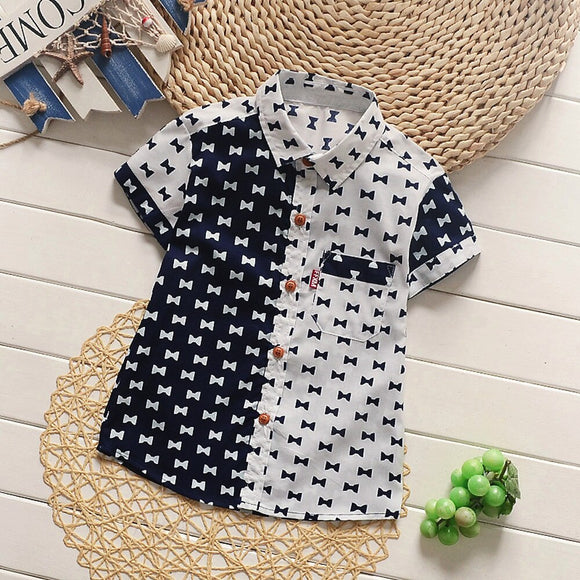 Infant boys bow tie print button up shirt