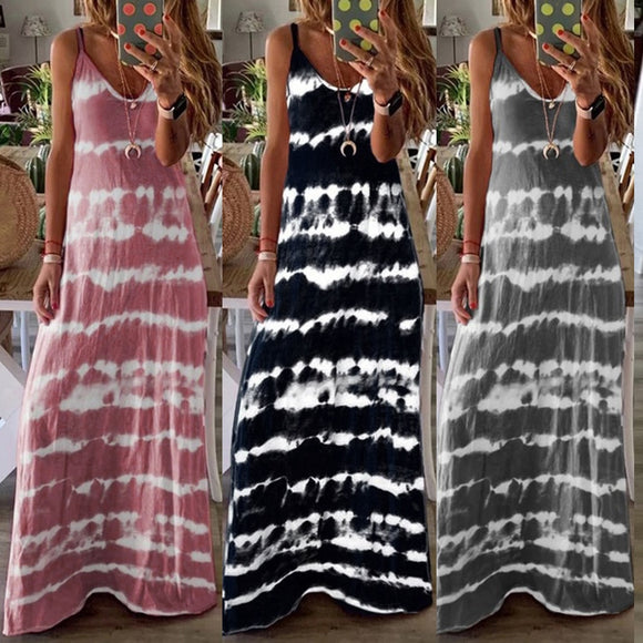 Women's tie dyed striped spaghetti strapped maxi dress