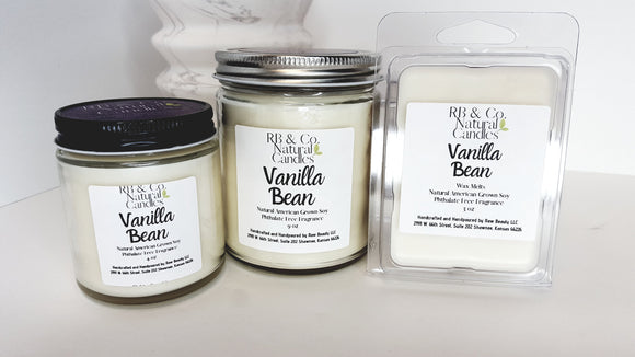 Vanilla Bean Scented Natural Soy Hand-Poured, Hand-Crafted Candle