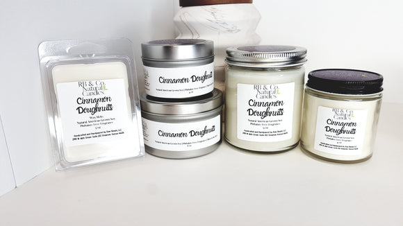 Cinnamon Doughnuts Scented Natural Soy Hand-Poured, Hand-crafted Candle