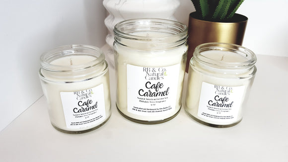 Cafe Caramel Scented Natural Soy Hand-Poured, Hand-Crafted  Candle