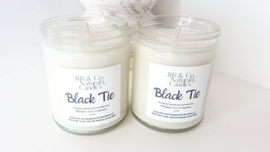 Black Tie Scented Natural Soy Hand-Poured, Hand-Crafted Candle
