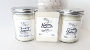 Blueberry Cheesecake Scented Natural Soy Hand-Poured, Hand-Crafted Candle