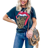 Women's red lip and leopard tongue print short sleeve T-shirt