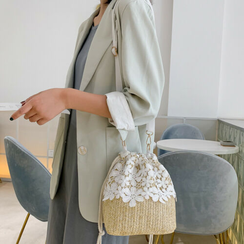 Women's bucket straw shoulder bag