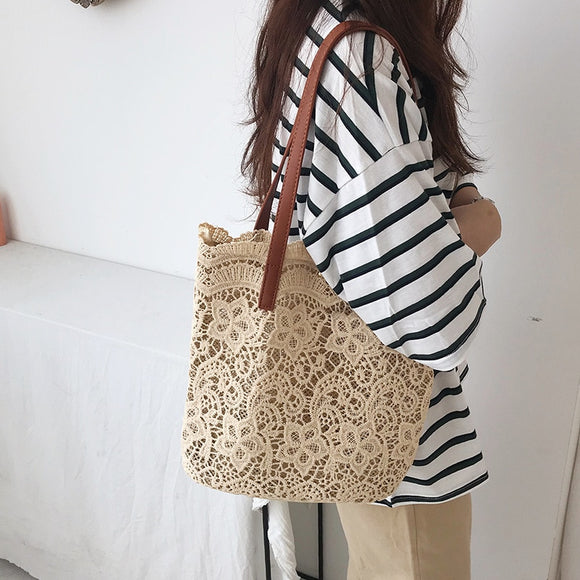 Crocheted Bucket style Shoulder Bag