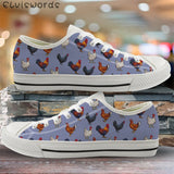 Chicken print low top canvas sneakers