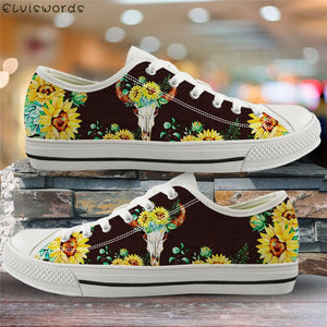 Sunflower and goat head skull low top canvas sneakers
