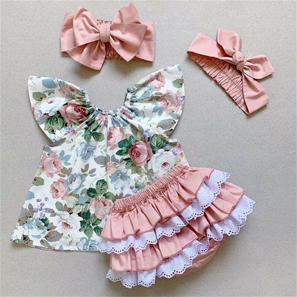 Girl's  3pcs  floral top with ruffled  short set