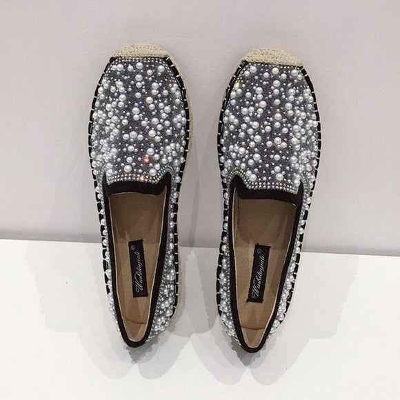 Women's Slip On Espadrilles with rhinestones and pearls