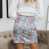 Women's high waist floral print skirt