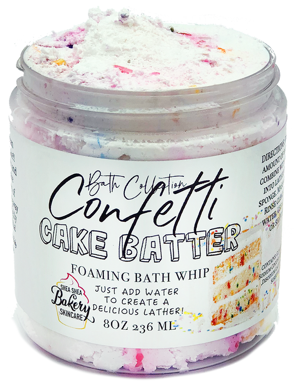 Whipped Confetti Cake batter foaming Bath