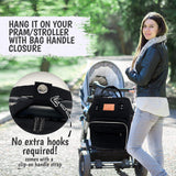 Large multi functional black backpack style diaper bag