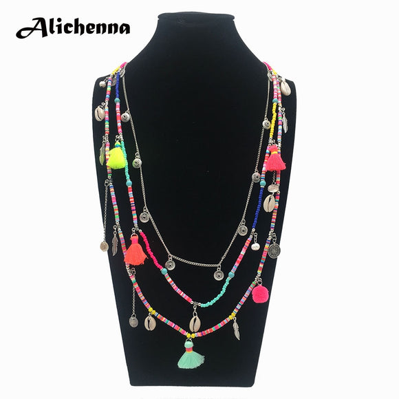 Women's handmade three-tiered bohemian necklace