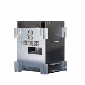 OneTigris Wood Burning Stove ROCUBOID Splicing Firewood Stove Stainless Steel Portable Camping Furnace Picnic Survival Cooking