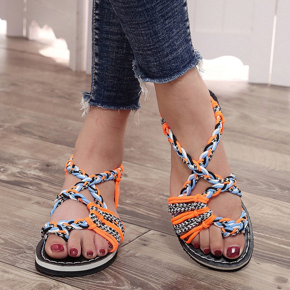 Women's comfy patchwork rope sandals