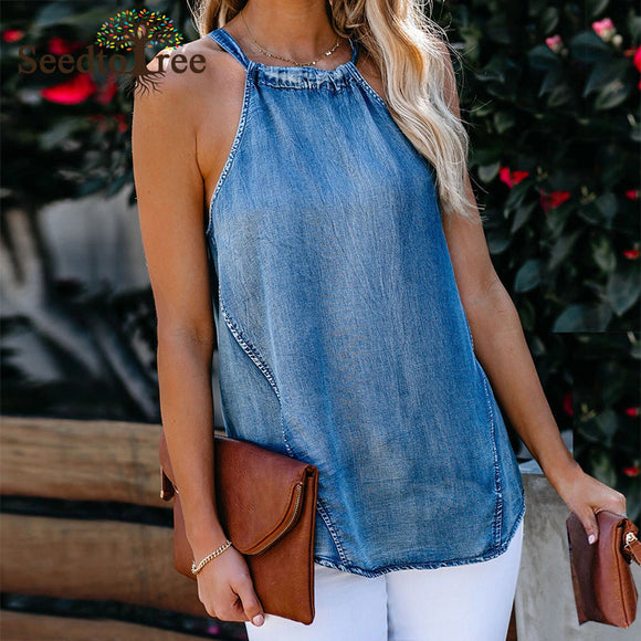 Women's Keyhole Back Denim Casual Tank Tops