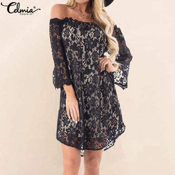 Women's off shoulder lace mini dress with flared sleeves