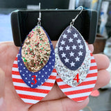4th of July flag print teardrop earrings