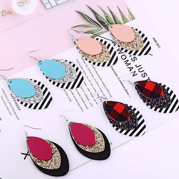 Leather three layered glitter striped print leaf drop earrings