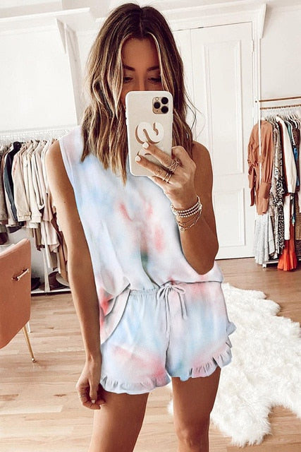 2 piece women's tie dye print pajama/lounge wear set