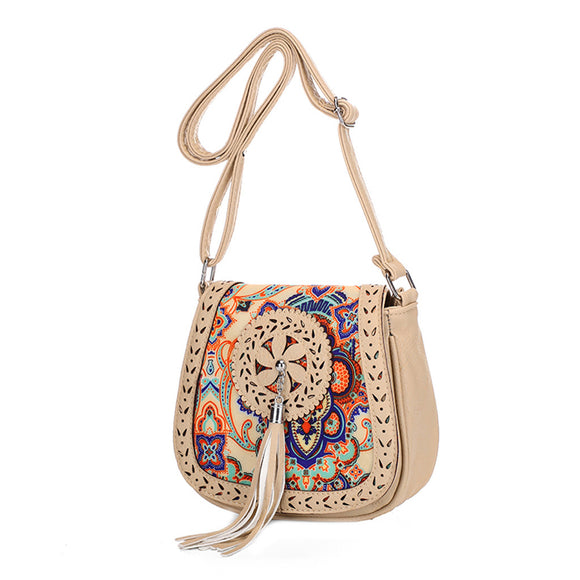 Embroidered messenger style purse