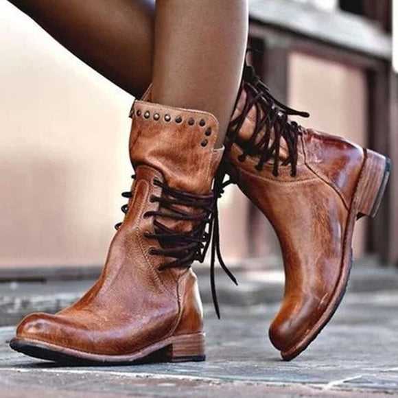 Women's leather mid calf lace-up boots