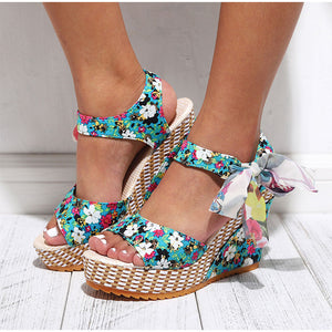 Women's bow knot design platform wedge