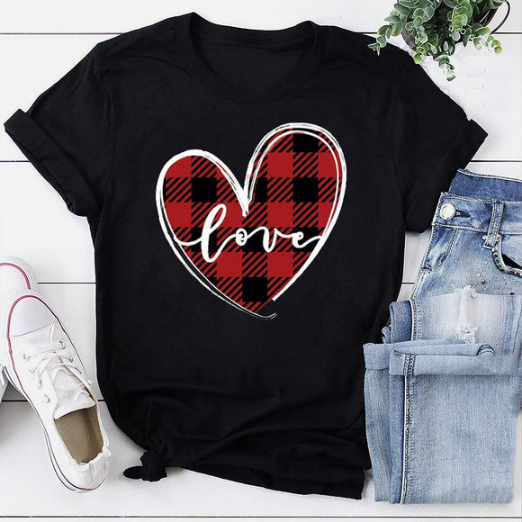 Women's heart plaid short sleeve T-shirt