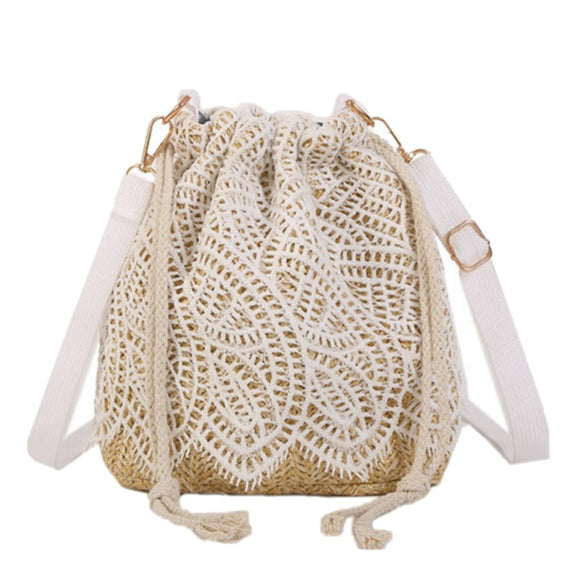 Women's straw and crocheted Lace cross body drawstring bag