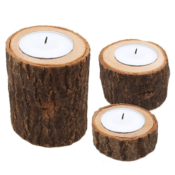 wooden tree truck style tea light candle holders