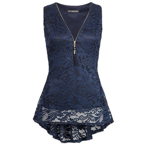 Women's zipper trimmed v-neck Lace sleeveless top