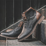 Men's leather lace up ankle boots