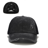 Women's Mesh Trucker Caps with opening for ponytails