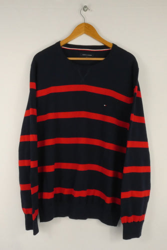 Vintage Tommy Hilfiger Striped Sweatshirt (XL)