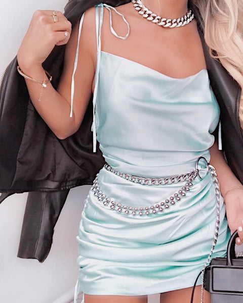 LAFLIN mint satin dress