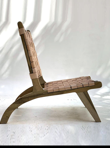 Riad Lounge chair in Leather & Walnut
