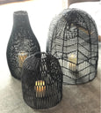 "Black Long Dome Wicker Basket Lamp shade 20""D-24""H"