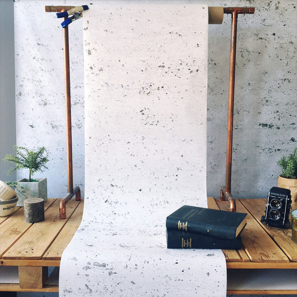 Concrete Painted  White Wallpaper - Papier Peint Béton Peint Blanc