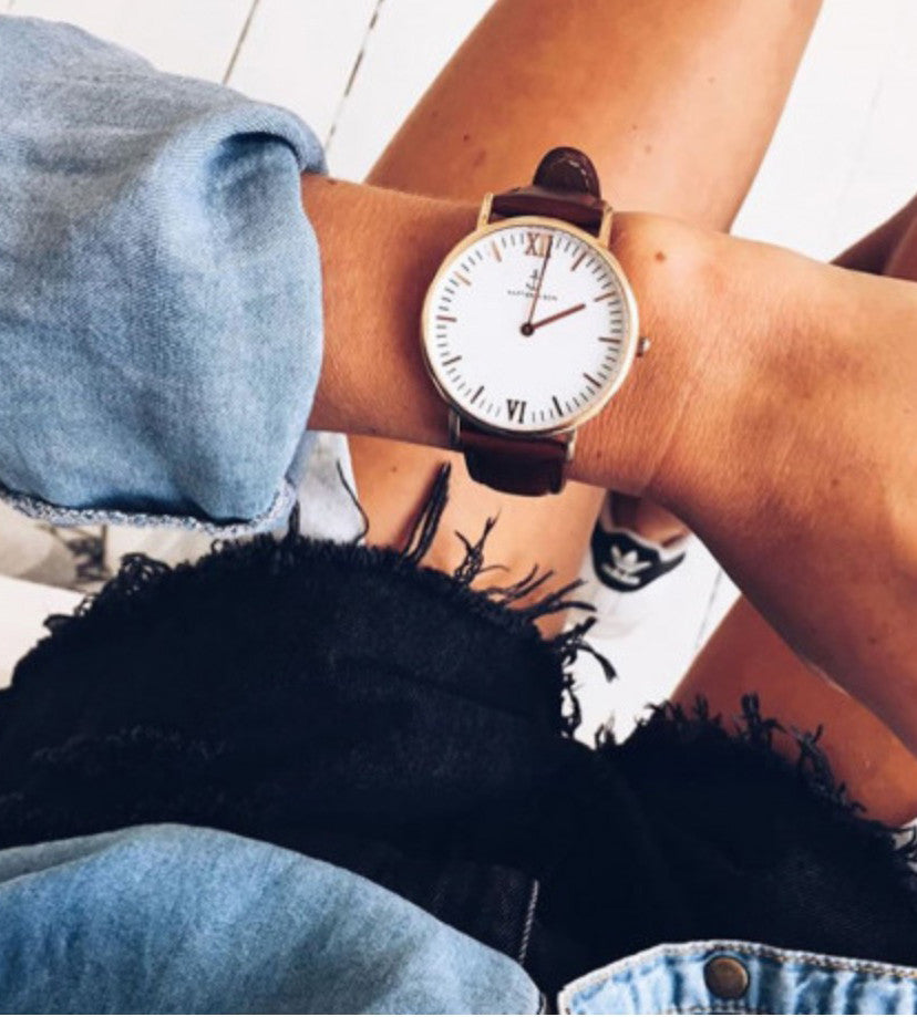 White Dial Watch Rose Gold Case Brown Bracelet Watch