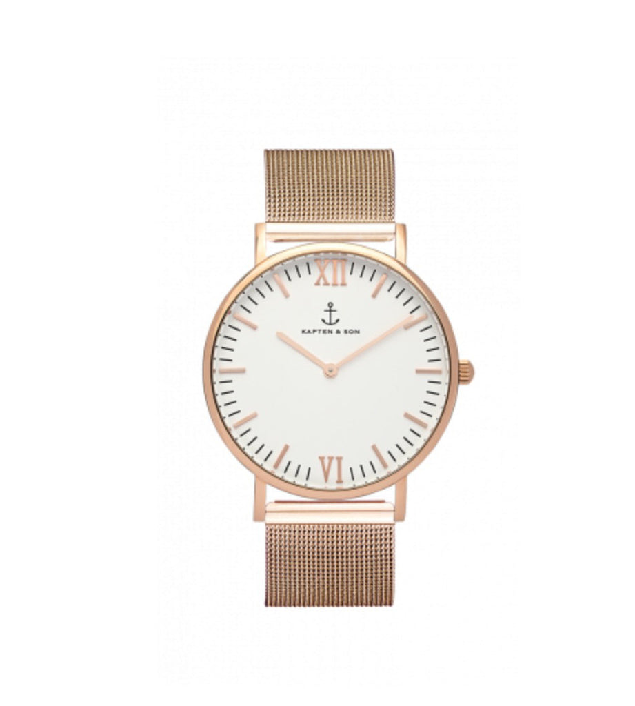 White Dial mesh Rose Gold Watch