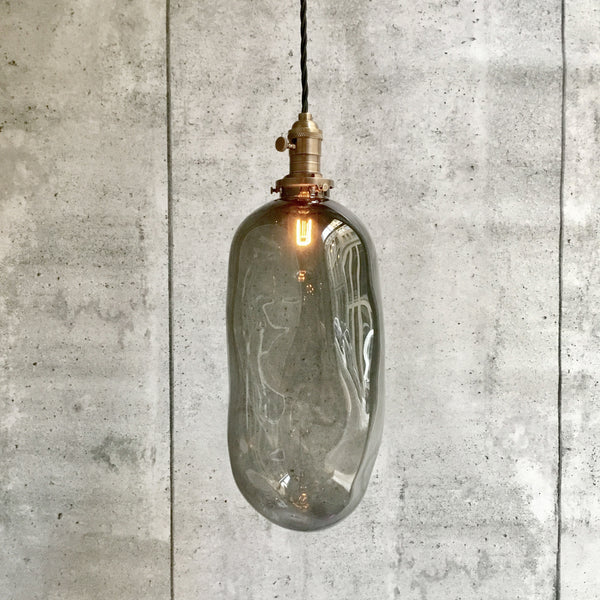 Pendant hand blowned Glass Pillule Light Smoke Grey