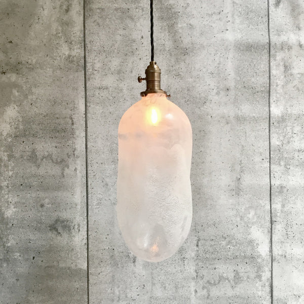 Pendant hand blowned Glass Pillule Light Frosted