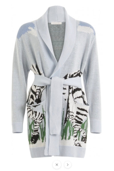 Coster Cardigan w. tieband at waist Zebra blue