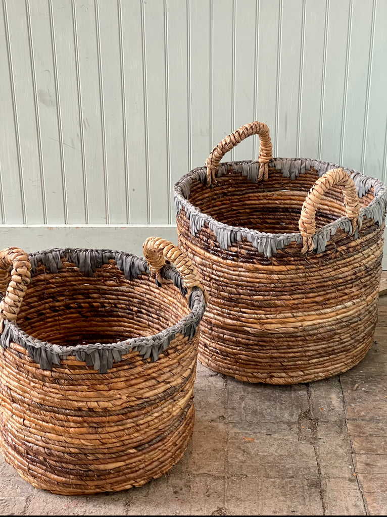 Basket natural and grey edges with Handles