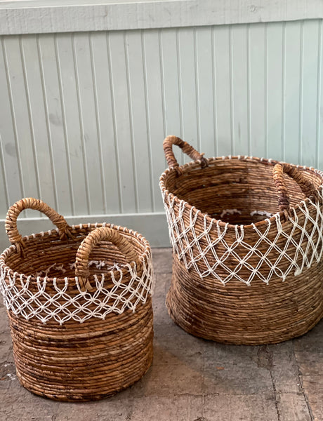 Basket natural and white rope details with Handles