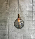 Pendant hand blowned Glass Bulb Light Smoke Grey