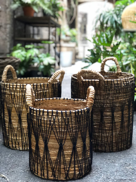 Seagrass Basket Boho Black with Handles